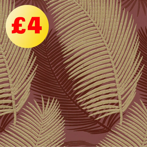 March Wallpaper Clearance | Royal Palm Red/Gold | 57001