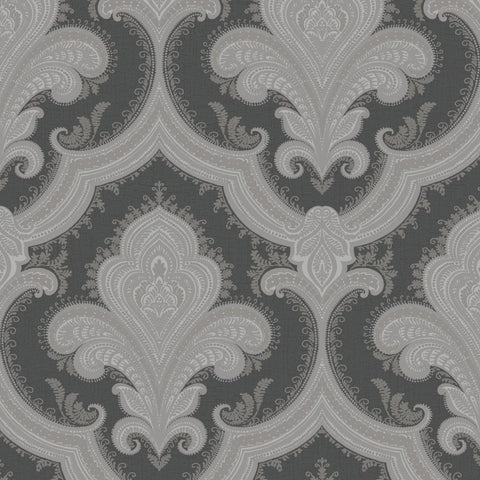 Sassari Damask Black/Silver Wallpaper | Rasch 519945 | NEW