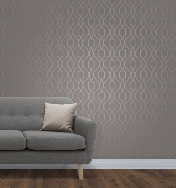 Fine Decor Wallpaper Apex Trellis Copper Fd41998