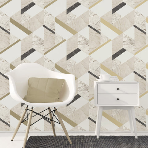 Fine Decor Wallpaper | Marblesque Geo Natural | FD42300