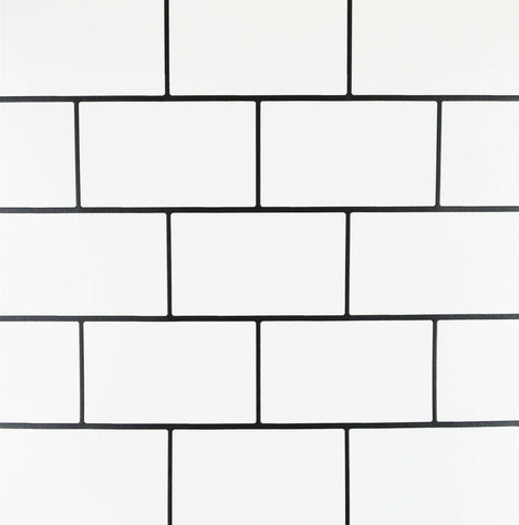 Subway Gloss Tile White Wallpaper | Debona 2676 | Washable