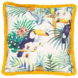 Travis Tropical Yellow Cushion | Feather Filled | Malini Designs