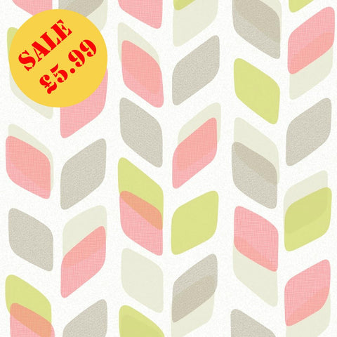 SALE Deco4Walls Wallpaper | Unplugged Leaf Pink/Lime | UN3005