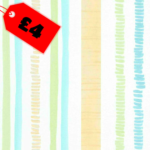 CLEARANCE Kids Wallpaper | Up To Date Stripe Blue/Multi | 6449-08