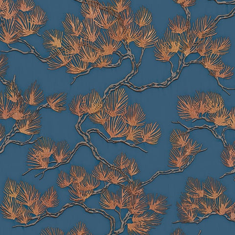 Stitch Pine Tree Blue/Copper | Design id Wallpaper | WF121017