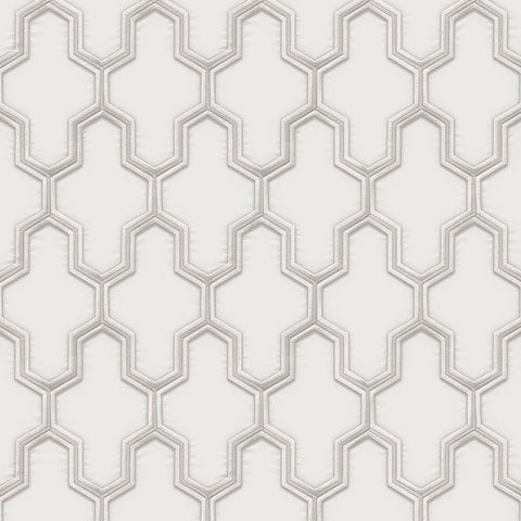 Geometric Silk White/Silver | Design ID Wallpaper | WF121021