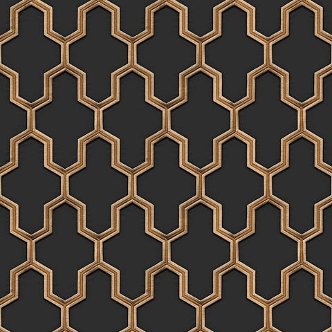 Geometric Silk Black/Gold | Design ID Wallpaper | WF121025