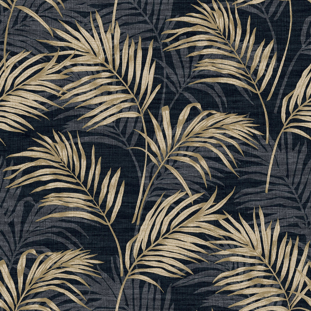 Lounge Palm Black | Grandeco Wallpaper | A46104