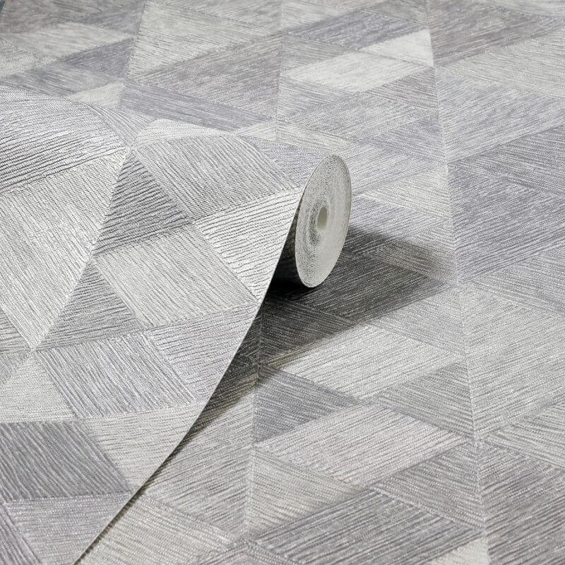 Luxe Triangle Silver/Grey | Arthouse Wallpaper 295902