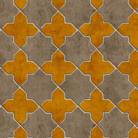 Moroccan Tile Mustard Wallpaper | AS Creation New Walls 37421-2