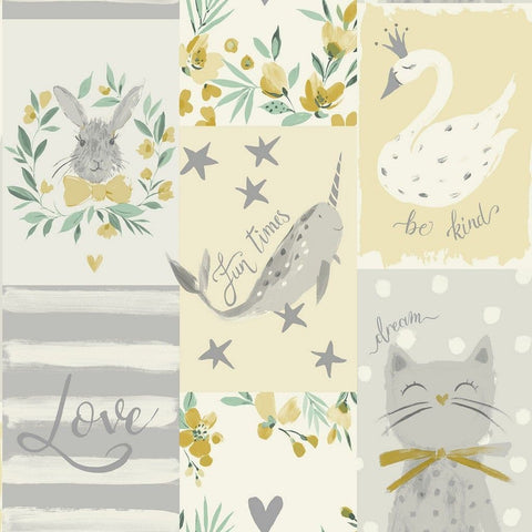 Be Kind Soft Yellow | Belgravia Kids Wallpaper | 2556