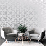 Amelie Geo Grey Wallpaper | Belgravia Decor 3004