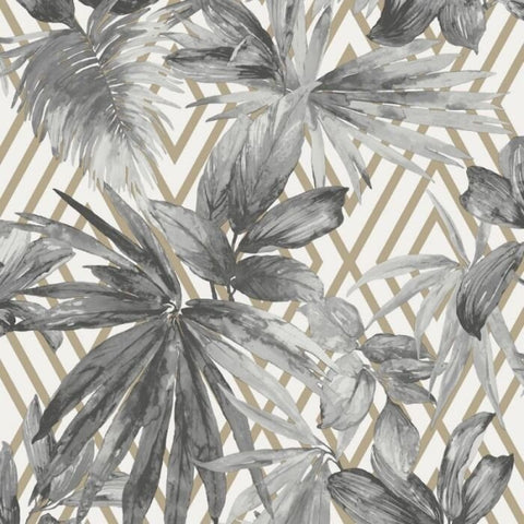 Forage Silver | GranDeco Tropical Wallpaper | A49702