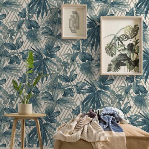 Forage Teal | GranDeco Tropical Wallpaper | 156001