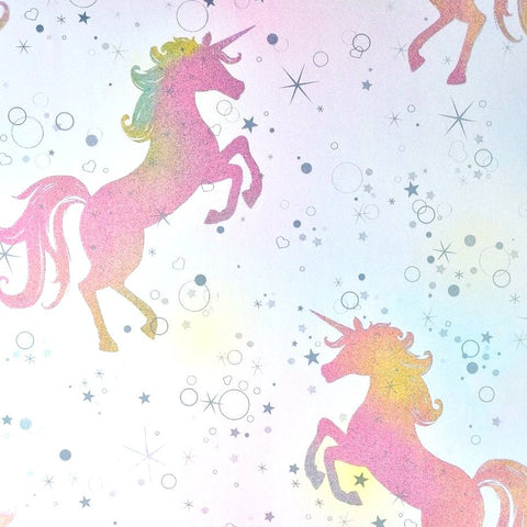 crown wallpaper coloroll be dazzled dancing unicorn rainbow glitter wallpaper m1423 p9153 3230 image large