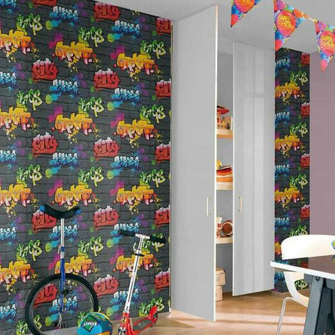 Rasch Wallpaper | Urban Graffiti Black/Multi | 237801