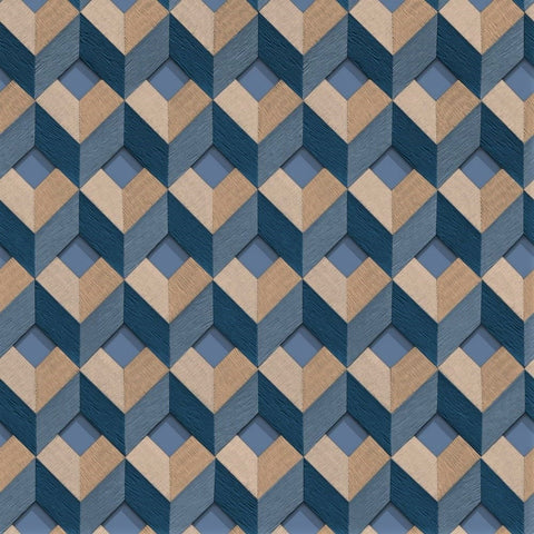 3D Cube Navy/Neutral | Design id DecorTex | DE120134