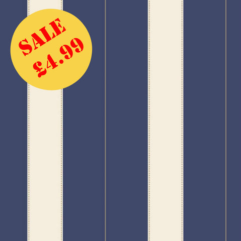 SALE Rasch Wallpaper | Ritz Stripe Navy Blue | 240429