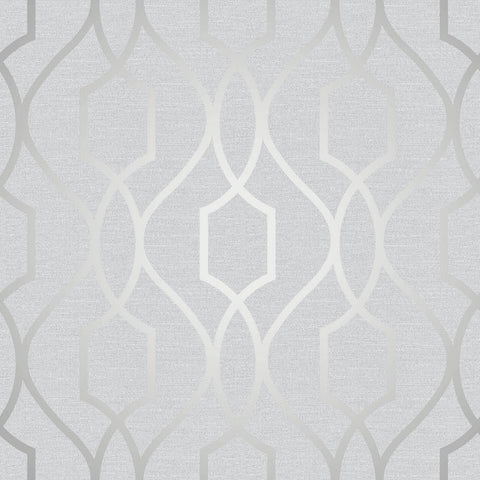 Fine Decor Wallpaper | Apex Trellis Silver | FD41995