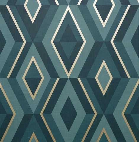 Shard Diamond Teal Wallpaper | Fine Decor Geometric FD42609