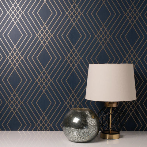 Shard Trellis Navy Wallpaper | Fine Decor FD42605