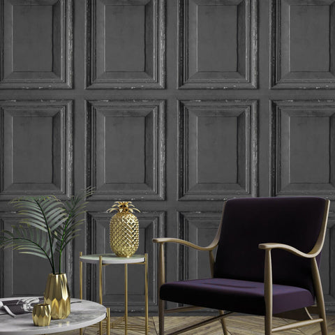 Distressed Wood Panel Charcoal | Grandeco Wallpaper @ WonderWall
