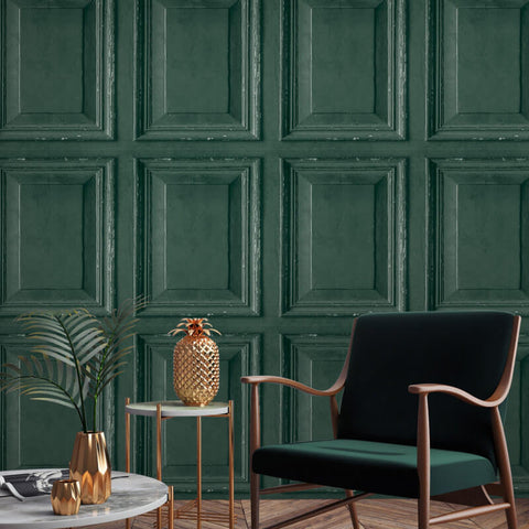 Distressed Wood Panel Emerald Green | Grandeco Wallpaper @ WonderWall