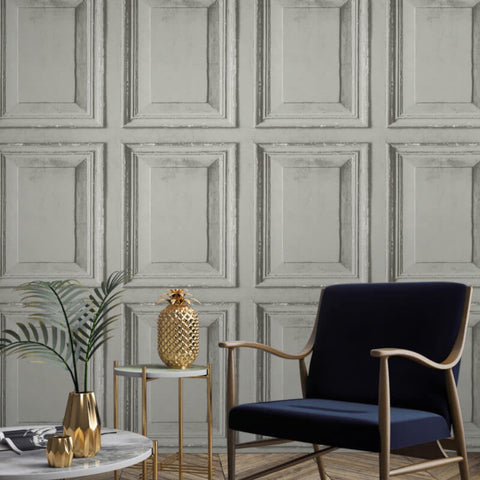 Distressed Wood Panel Stone | Grandeco Wallpaper @ WonderWall