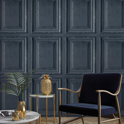 Distressed Wood Panel Navy | GranDeco Wallpaper @ WonderWall