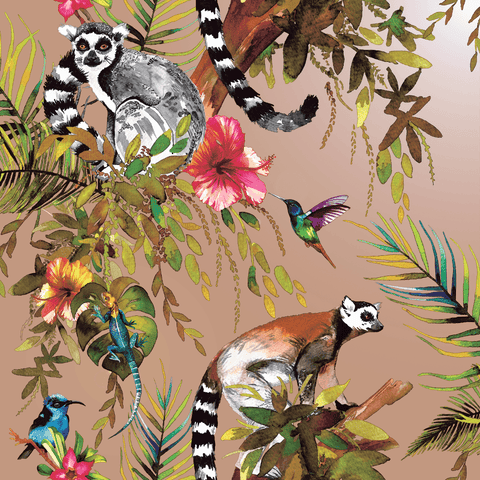 Lemur Rose Gold Wallpaper | Holden 12404 | Tropical Wallpaper