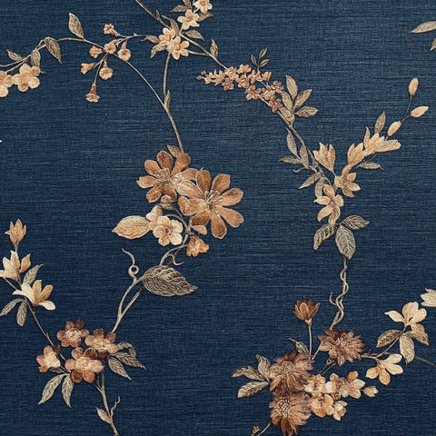 Stitch Floral Blue/Copper | Design id Wallpaper | FT221215