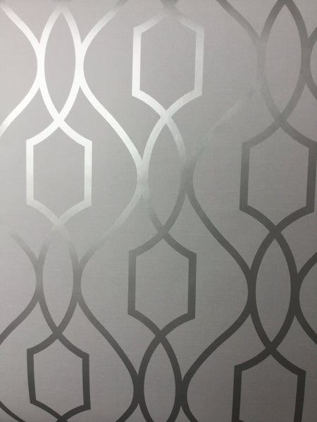 Fine Decor Wallpaper Apex Trellis Silver Fd41995