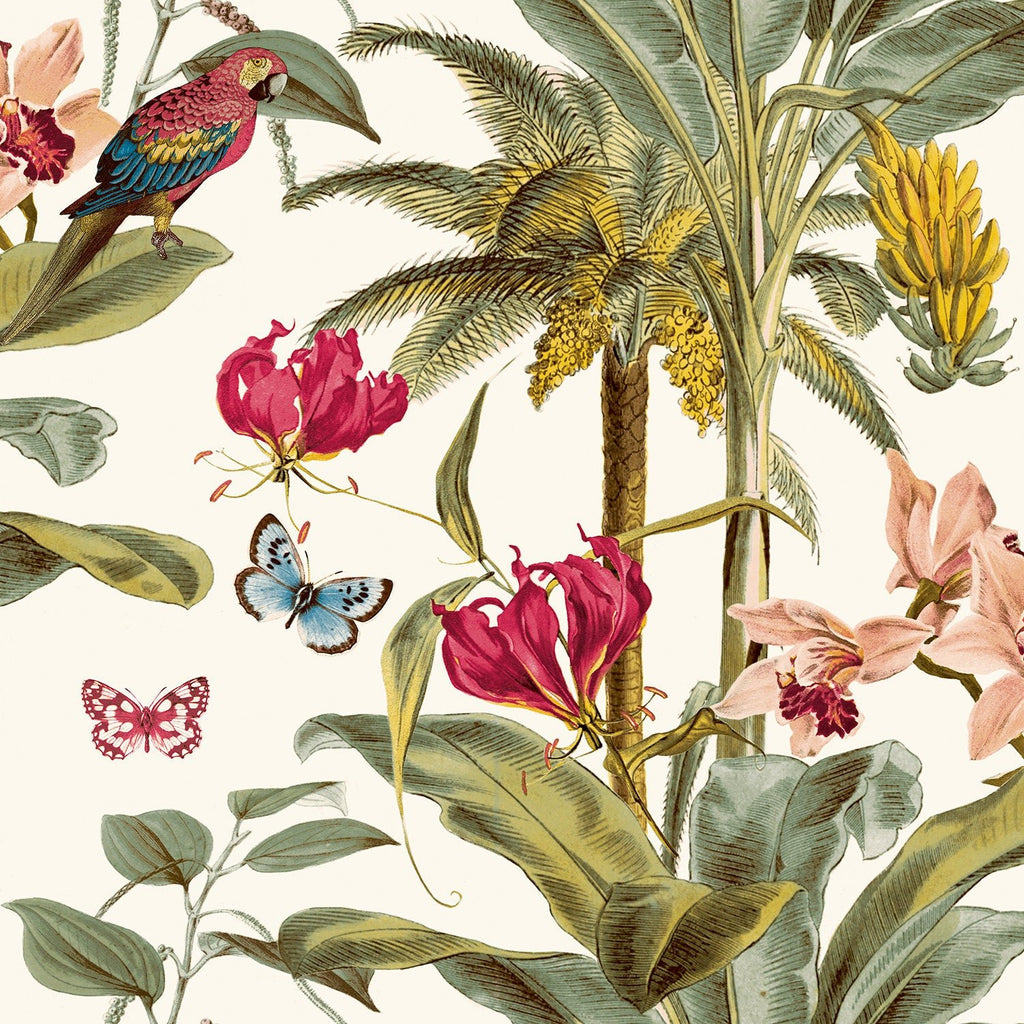 Tropical Palm Green/Pink Wallpaper | GranDeco Life JF2001
