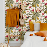 Tropical Palm Green/Orange Wallpaper | GranDeco Life JF2002