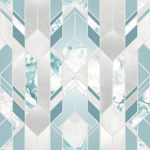 Elixr Geo Teal Wallpaper | Muriva Elixr Collection 167503