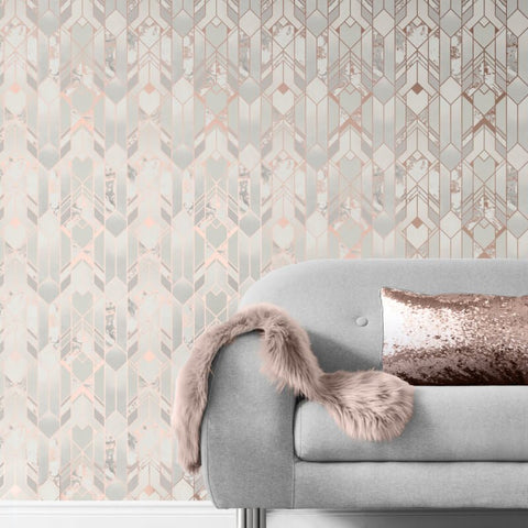 Elixr Geo Rose Gold Wallpaper | Muriva Elixr Collection 167502