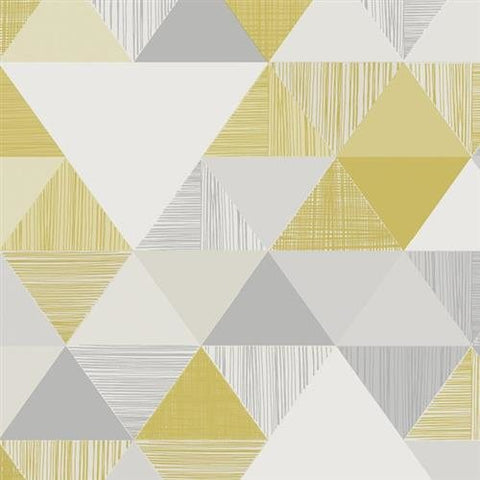Grandeco Life Wallpaper | Inspiration Wall Triangle Yellow | IW3001