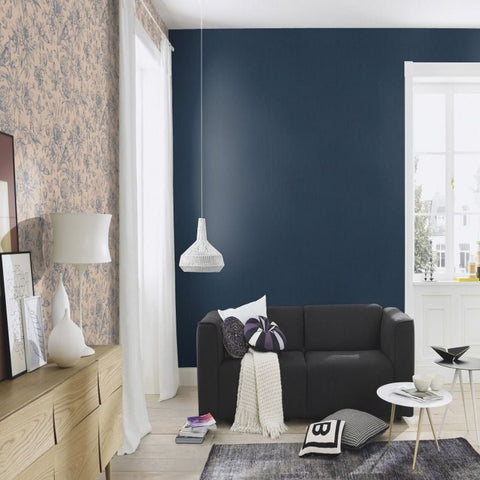 Rasch Wallpaper | Florentine Linen Plain Navy | 449860