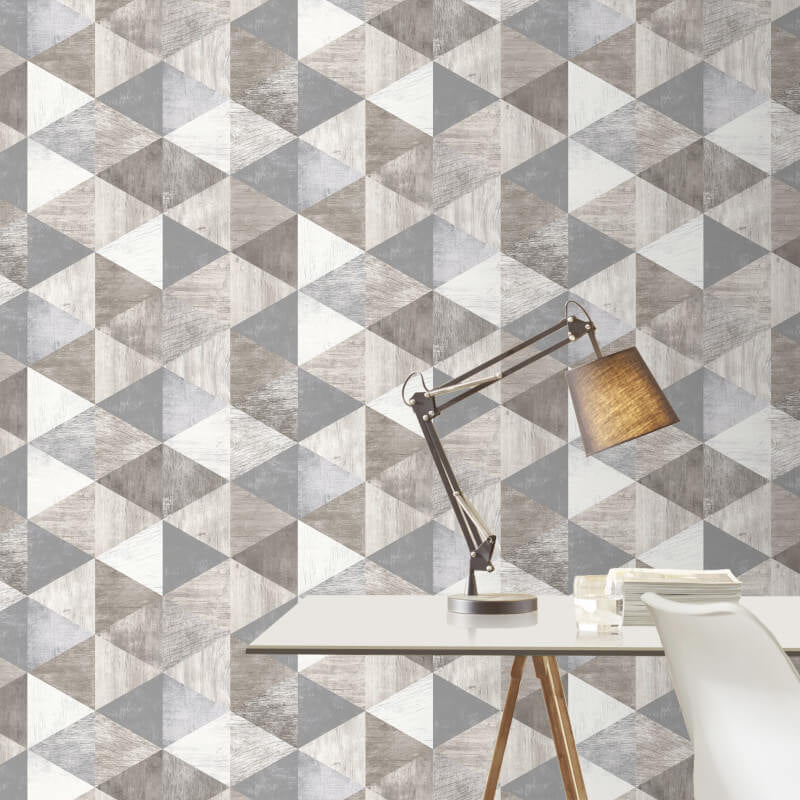 Rasch Wallpaper | Geometric Wood Grey Wallpaper | WonderWall
