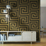 Athena Black/Gold Wallpaper | Debona 4014 | Greek Key Wallpaper