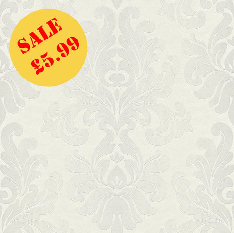 SALE Rasch Wallpaper | En Suite Damask White | 546170