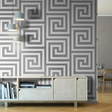 Athena White/Silver Wallpaper | Debona 4011 | Greek Key