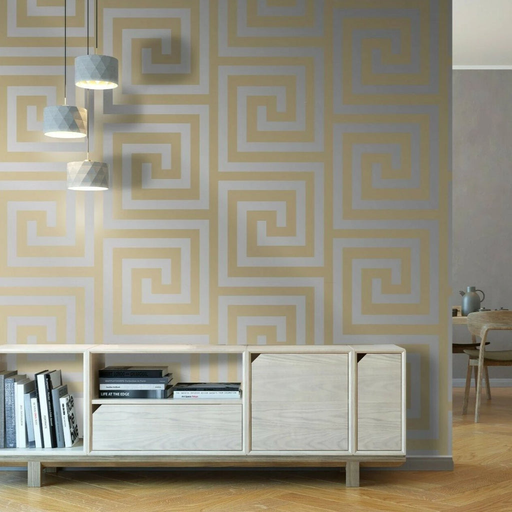 Athena Champagne/Gold Wallpaper | Debona 4012 | Greek Key