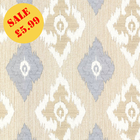 SALE Erismann Wallpaper | Romano Diamond Ivory/Blue | 9791-08