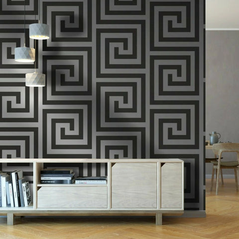 Athena Black/Silver Wallpaper | Debona 4010 | Greek Key Wallpaper