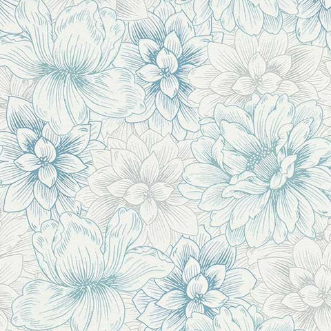 Erismann Wallpaper | Summer Floral Blue/White | 5425-08