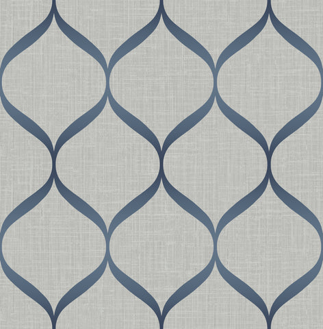 Pear Tree Studios Wallpaper | Trellis Grey/Navy | UK21212