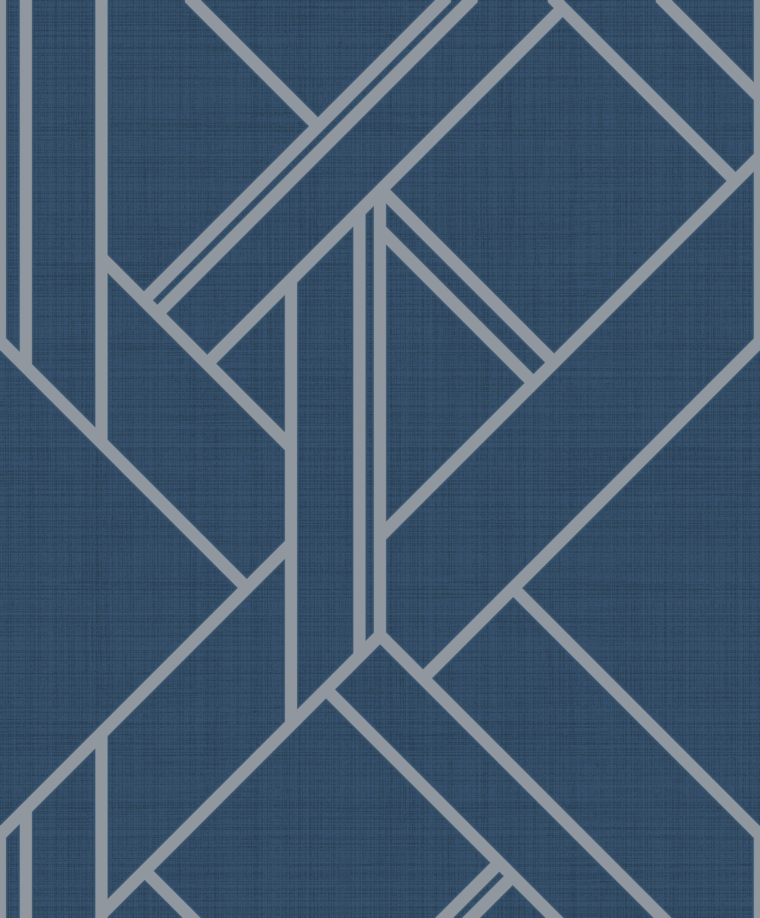 Designer Geometric WallpaperNavy Blue SilverTexture Pear Tree UK50502