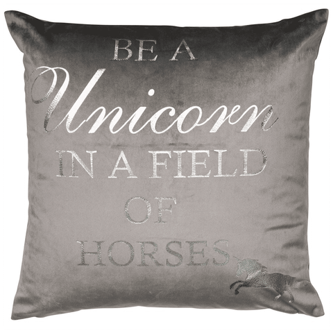 Malini Cushion Collection | Unicorn Silver/Grey Cushion | WonderWall