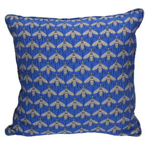 Blue Bees Jacquard Cushion